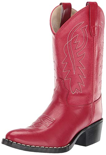 Old West Girls' Leather Cowgirl Boot Red 1 D(M) US