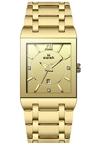 MLHXHX Reloj de hombre, rectangular, correa de acero inoxidable, calendario simple, reloj de cuarzo, resistente al agua, oro