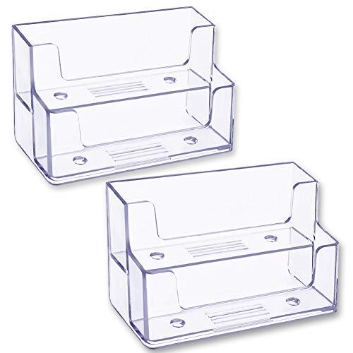 INTVN Soporte de Tarjetas de Visita Transparente Organizador de Tarjetas de Plástico de 2 Niveles Tarjeteros para Hogar Oficina 2 Pack