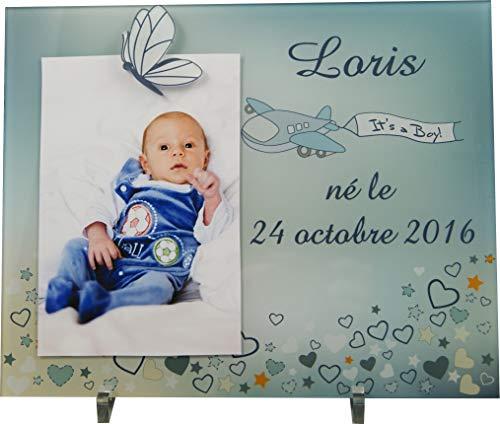 Cadre Photo Naissance - Cadeau de Naissance personnalisé avec le prénom du bébé – idéal pour la liste de naissance – pour fille ou garçon – Kd-K