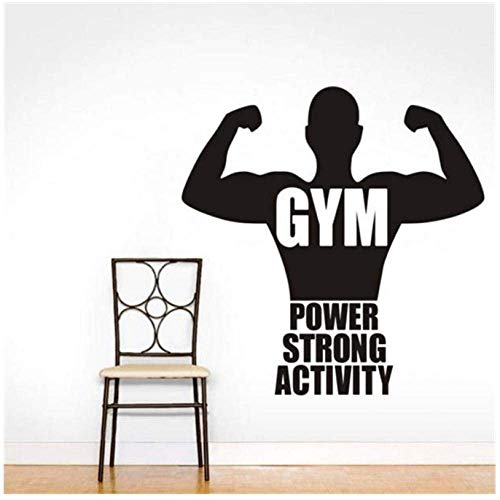 Cita Fuerza Actividad Vinilo Extraíble Pegatinas De Pared Hombres Musculosos Pegatinas De Pared Niños Habitación Arte Mural Decoración Gimnasio 44X44Cm