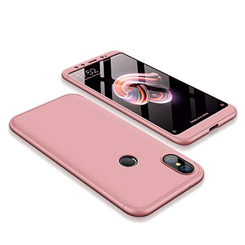 cmdkd Funda Compatible con Xiaomi Mi A2/6X,Case Bumper 3 en 1 Estructura 360 Grados Integral para Ambas Caras Hard Skin Carcasa + Cristal Templado.Rose Oro