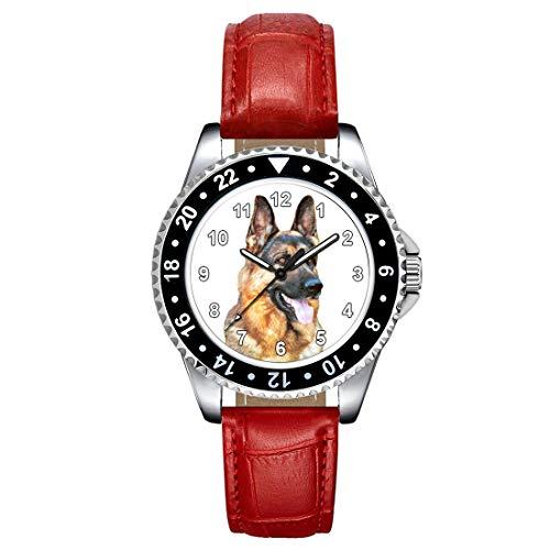 Timest - Pastore tedesco - Orologio da polso da Donna con Cinturino in Pelle rosso analogico al quarzo CSE028LR