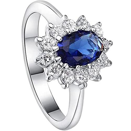FXLYMR Anillos Elegancia Moda Diamante de Imitación Sortija de de Las Mujeres Aniversario Cumpleaños Navidad Acción de Gracias Regalo de/Azul/No.8
