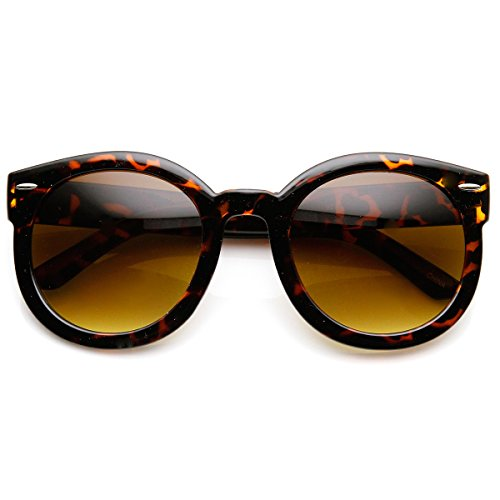zeroUV - Round Retro Oversized Sunglasses for Women with Colored Mirror and Neutral Lens 53mm (Tortoise / Amber)