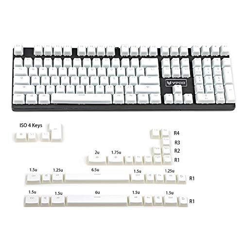 YMDK PBT Double Shot Shine Through ANSI ISO Pudding Keyset für MX Mechanical Keyboard Corsair Razer Ducky SF KBD75 68 Keychron (White Pudding Full Set)