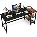 CubiCubi Home Office Computer Desk, 63 Inch Study Writing Table with Storage Shelves, Modern Simple Style PC Desk with Splice Board, Black and Espresso