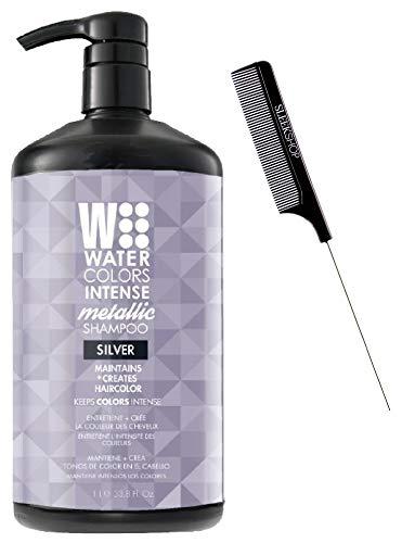 Watercolors INTENSE METALLIC Color Depositing Sulfate-Free Shampoo, Maintains & Enhances Haircolor (w/ Sleek Steel Pin Rat Tail Comb) Water Colors Hair Dye (Intense Metallic Silver - 33.8 oz LARGE)