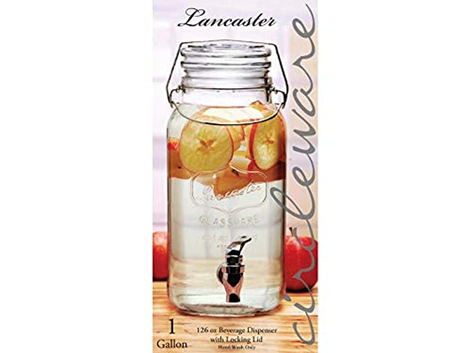 Circleware 92009 Lancaster Glass Mason Jar Beverage Dispenser with Locking Swing Top Lid, Fun Party Home Entertainment Glassware Drink Water Pitcher for, Juice, Punch and Iced Tea, 1 Gallon, Hermetic