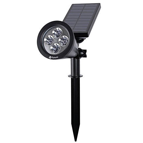 Solar Lights, Syhonic 2-in-1 Waterproof 4 LED Solar Spotlight Adjustable Wall Light Landscape Light Security Lighting Dark Sensing Auto On/Off for Patio Deck Yard Garden Driveway Pool Area (Black)