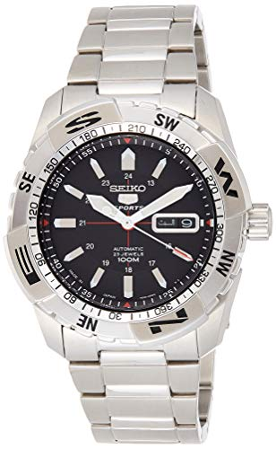 Seiko Sports 5 Black Dial Stainless Steel Mens Watch SNZJ05