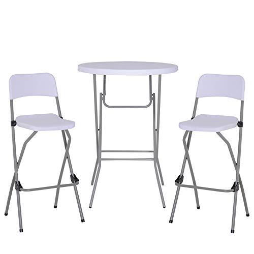 Outsunny 3-teilig Barset Bistroset Bargruppe Küchenbar Sitzgruppe faltbar klappbar mit Bezug Metallgestell + Kunststoff Weiß 1 x Bartisch 2 x Barhocker