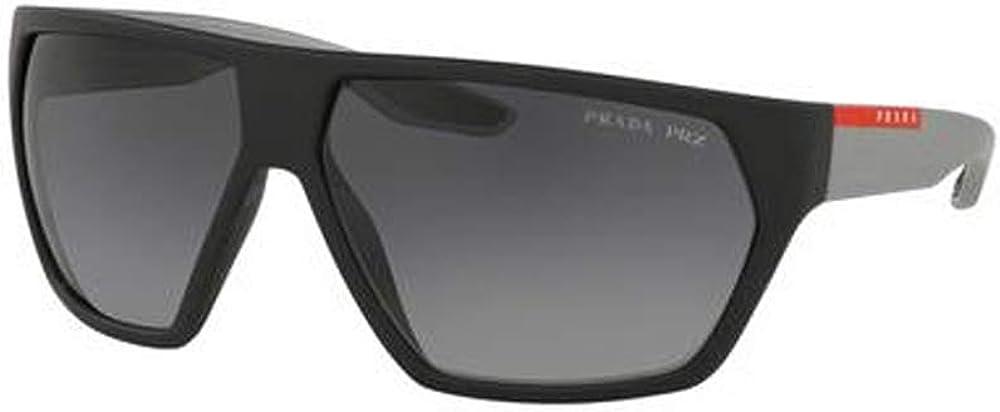 Prada Linea Rossa PS 08US 4535W1 Black Plastic Geometric Sunglasses Grey Polarized Lens
