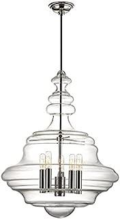 Washington 5-Light Large Pendant - Polished Nickel Finish with Clear Glass Shade