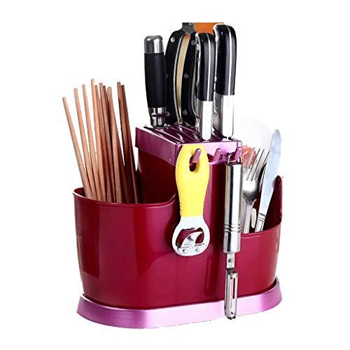 JSY Keuken Multifunctionele Chopsticks Drain Chopsticks Cage met Cover Chopsticks Box Opknoping Bestek Cage Tool Holder Plastic Chopsticks Stand Lege messenblokken (Color : Red)