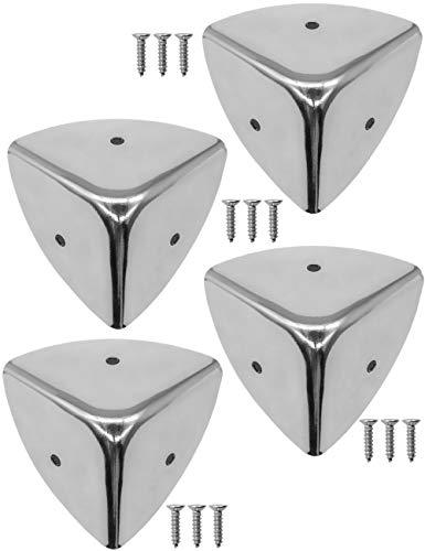FUXXER® - 4x Edelstahl-Ecken, abgerundet, Metall-Schutz Beschläge für Kisten Boxen Möbel Regal Tisch, 39 x 39 mm, inklusive Schrauben