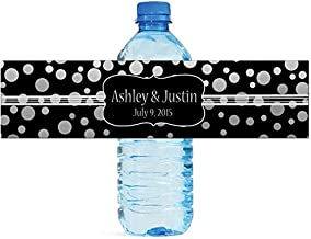 100 Silver Confetti Black Background Wedding Water Bottle Labels Engagement Party 8