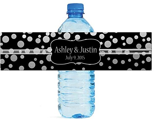 """100 Silver Confetti Black Background Wedding Water Bottle Labels Engagement Party 8""""x2"""""""