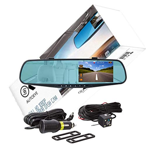 OK AUTOEYE Mirror Dash Cam with Extra Long 26ft Rear Cable Backup Camera, 4.3 Inch FHD Anti-Glare Display with 1080P Front Wide Angle Lens support Night Vision, Collision Sensor and Parking Mode