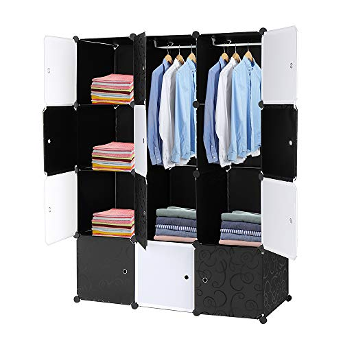 LIBYPNV Organizador de 12 cubos apilables, para armario, estantería con barra para colgar en sala de estar, dormitorio y oficina, armario organizador cubby estantería
