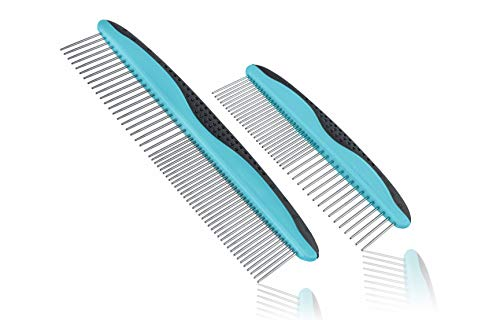 Pets First 2 Pack Dog Comb Small & Large PET Comb for Small & Large Breeds & Areas. Premium Anti-Slip Comfort Grip Ergonomic Handle for Your Dog & Cat with Durable Stainless-Steel