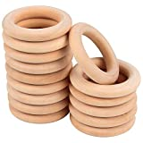 15 Pcs Wooden Rings, Macrame Wooden Rings, Natural Unfinished Solid Wood Rings for DIY Craft Pendant Connectors Jewelry Making (55 mm)