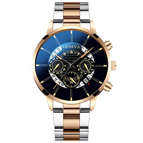 Yivise Hombres de Negocios Relojes Casuales de Lujo Banda de Acero Reloj de Pulsera de Cuarzo analógico Regalos(C)