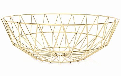 IWALYA Gold Fruit Bowl for Kitchen Counter Decor - Large Decorative Bowl for Gold Decor- Gold Kitchen Accessories for Modern KItchen Decor - Gold Wire Fruit Basket for Kitchen table decor 12x4 Inches