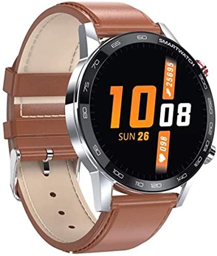 Reloj inteligente para hombre Reloj de pulsera de fitness para mujer, impermeable, ejercicio de ritmo cardíaco, podómetro, rastreador de actividad de cuero plateado