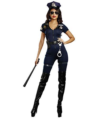 XSQR Womens Sexy Blauw Halloween Party Politie Uniforme Kostuums Outfit Fancy Jumpsuits Halloween Kostuum M XL