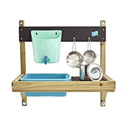 Includes fun water butt with tap as well as removeable splash tub ideal for mud mixing Roomy painted hob area with fun DIY stencil to create hob rings and 'mud kitchen' logos Sold complete with a starter set of stainless steel pans with mixing whisk ...