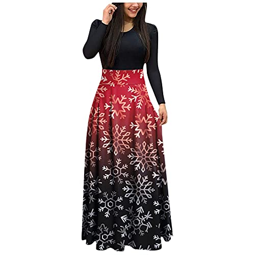 Women's Christmas High Waist Dresses, Casual Trendy Loose Long Sleeve Maxi Dress, Crewneck Printing Splicing Party Gown Red