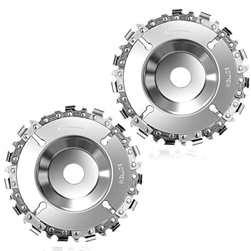 Grinder Wood Carving Chain Disc, Angle Grinder Chain Disc Steel 4'' 22 Teeth 5/8'' Arbor, Chainsaw Grinder Wheel, Fits 4'' or 4'-1/2' Angle Grinder for Fine Cutting Sculpting and Shaping (2 Pack)