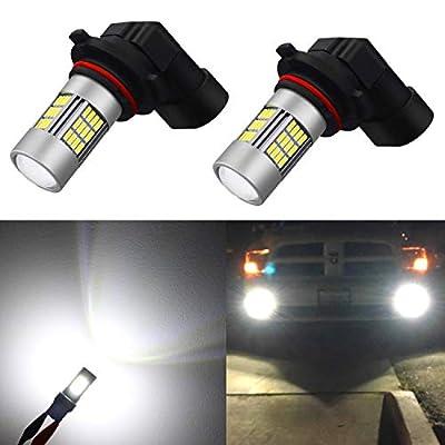 Alla Lighting Super Bright H10 9145 LED Fog Lights Bulbs 4014 54-SMD 12V 6500K Xenon White 9140 9045 Car's Truck's Fog Lights Replacement
