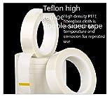 Cinta de teflón de doble cara, resistente a 260 grados de alta temperatura, cinta de doble cara, cinta blanca de fibra de vidrio-Ancho 25 mm * 20 m de largo