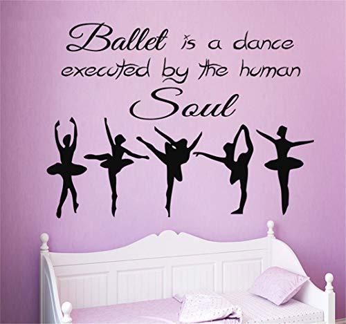 stickers muraux zen 3d Pour le salon, citation ballerine pour fille de ballet d'âme de ballet de danse pour la maison de danse