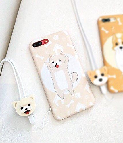 HüllerBay und Plus, 3D, süßes Kawaii-Cartoon-Tier-Design, flexibel, moderat, weich, ultradünn, schlankes Design (Akita mit Riemen, für Plus / iPhone 7 Plus)