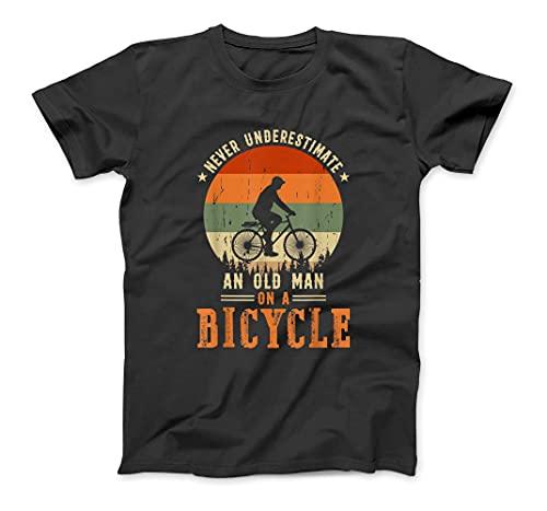Never Underestimate an Old Man on A Bicycle Bike Riding Men T-Shirt Sweatshirt Hoodie Tanktop for Men Women Kids Black