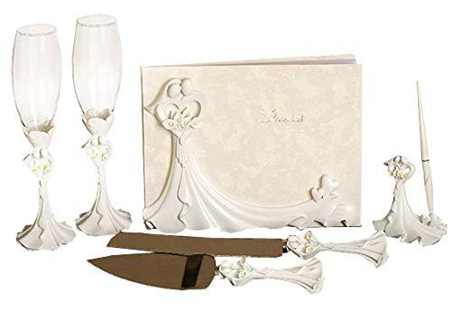 Bride and Groom Calla Lilys Wedding Set: Guest Book, Pen Set, Cake Serving Set, Toasting Flutes