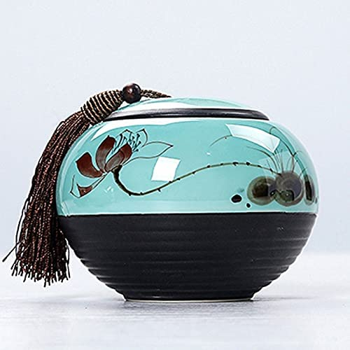 VWJFHIS Dealing full price reduction Matt White Celadon Hand-Painted Pu'er Tea Ceramic Caddy Max 41% OFF