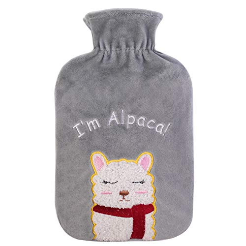 HomeTop Large 2 Liter Ultra Soft Fleece Hot Water Bottle Cover with 3D Cute Alpaca - ONLY Cover (2L, Gray)
