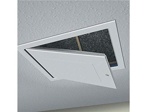 Hinged Drop Down Insulated Hatch Access Door Attic by SmartHome White Loft Trap Door with Opening Pole