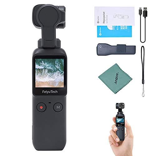 Feiyu Pocket 4K / 60fps Caméra à Cardan Portable Stabilisée à 6 Axes Objectif Ultra Grand Angle 120 °Enregistrement Vidéo Écran Tactile Ralenti 8X Contrôle d'app Panorama Timelapse
