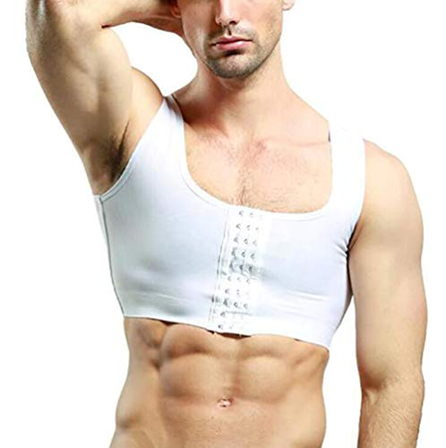 SHANGLY Hombres Fajas Ginecomastia Chaleco Camisa de Compresión Corrector de Postura Control de Pecho Moobs Corset,Blanco,L