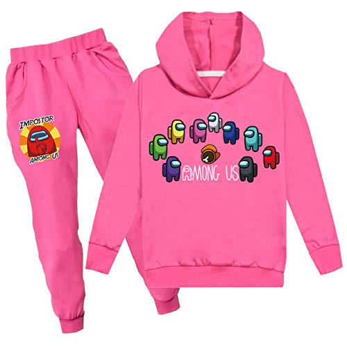 Kids Among us Hoodie and Sweatpants Suit Boys Girls Tracksuit 2 Piece Outfit Sweatsuit(Among us Rose Red 110(3-4 Years ))