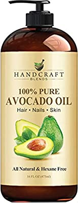 Handcraft Avocado Oil 16 fl. oz - 100% Pure and Natural - Hair Oil - Carrier Oil For Aromatherapy, Massage Oil, Body & Skin Moisturizer & Lubricant - Cold Pressed - Hexane Free - Bottle May Vary