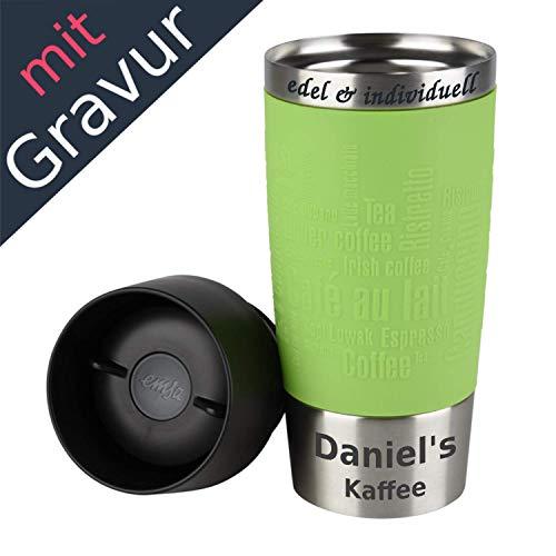 Emsa Isolierbecher Kaffeebecher 360 ml Limette + Lasergravur