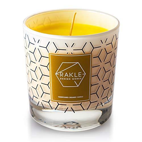 Vela aromaterapia con frasco grande decorativo, 210 GR ambientador orgánico aroma vela con elegante tarro de cristal