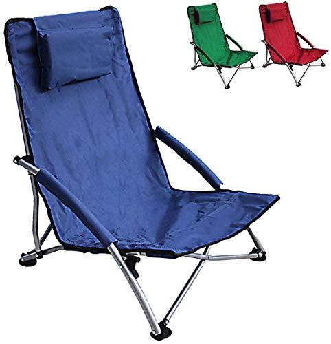 HJ HELLO JOURNEY Low Sling Beach Chair Folding Dark Blue