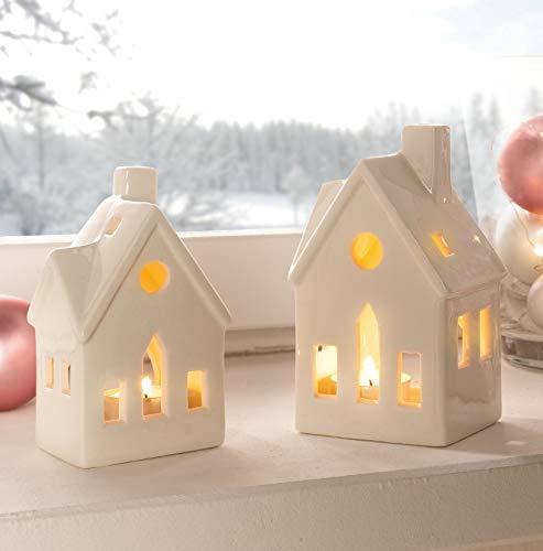 Dekoleidenschaft 2 Teelichthalter Haus aus Porzellan, weiß, glänzend lackiert, Teelichständer, Räucherhäuschen